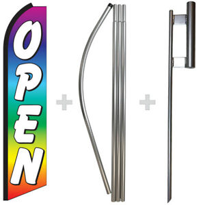 Open Rainbow 15 Tall Swooper Flag Pole Kit Feather Super Banner