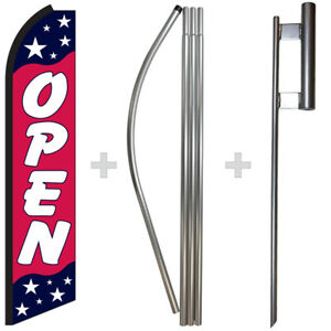 Open Americana 15 Tall Swooper Flag Pole Kit Feather Super Banner