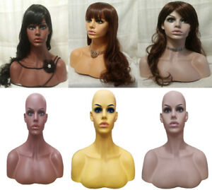 Female Fashion Mannequin Display Head Half Bust Shoulders Black White Mixed Race