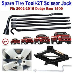 For Dodge Ram 1500 02 15 Lug Nut Wrench 2t Scissor Jack Spare Tyre Tools Set Kit