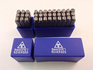 Reversed Character Steel Hand Stamp Letter Number Die Set 36pc 3 16 5mm