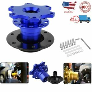 Us 6 Hole Car Steering Wheel Quick Release Hub Adapter Snap Off Boss Kit Blue Oy