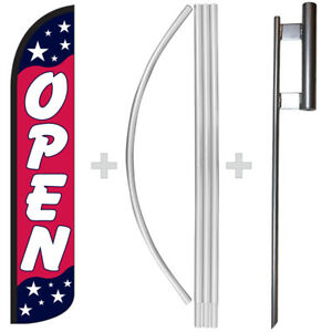 Open Americana 15 Tall Windless Swooper Feather Banner Flag Pole Kit