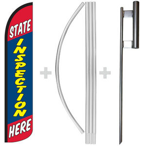 State Inspection Here 15 Tall Windless Swooper Feather Banner Flag