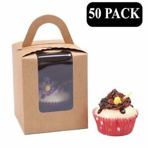 Clear Bakery Pastry Brown Kraft Paper Single Cupcake Boxes With Window And