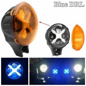 1pc 6 60w Round Led Fog Spot Light Blue X Drl Turn Signal Offroad For Jeep Suv