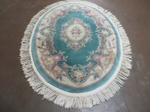 4 X 6 Vintage Hand Made Chinese Carving 90 Lines Wool Rug Flowers Oval Nice C