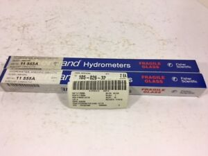 Two Fisher Scientific Specific Gravity Hydrometers P n 11 555a