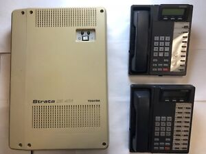 Toshiba Dk40i 4 X 8 Base Phone System Cabinet With Tcou1a With 2 Phones