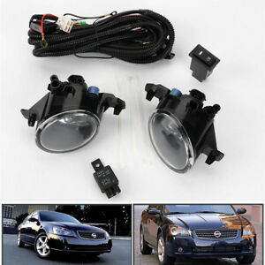 Pair W Switch Clear Front Bumper Fog Lights Lamp For Nissan 2005 2006 Altima Jdm