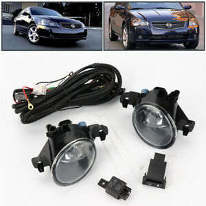 Pair W Switch Clear Front Bumper Fog Lights Lamp For 2005 2006 Nissan Altima Jdm