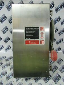 Cutler Hammer Dh362fwk 60 Amp 600 Volt 3p4w Fusible Ss Vintage Disconnect os