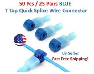 50pc Insulated 16 14 Awg T taps Quick Splice Wire Terminal Connectors Kit Blue