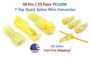 50pc Insulated 12 10 Awg T taps Quick Splice Wire Terminal Connectors Yellow