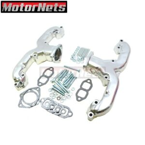 Small Block Chevy Sbc 283 350 V8 Ram Horn Chrome Exhaust Manifold Headers 55up