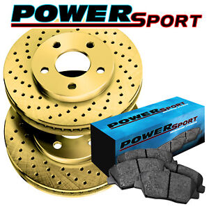 Fit 1998 2000 Kia Sephia Spectra Front Gold Drilled Brake Rotors ceramic Pads