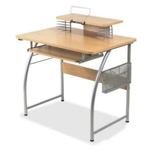 Lorell Laminate Computer Desk With Upper Shelf Maple Llr14337 Brand New