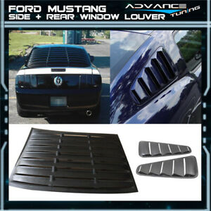 For 10 14 Ford Mustang V6 Matte Black Rear Side Pair Window Louvers