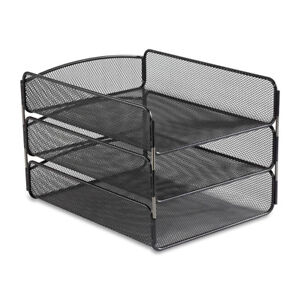 Filing Tray Organiser Steel Mesh 3 Tier Paper Sorter Desktop Files Holder Black