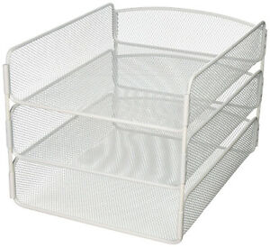 Filing Tray Organiser Steel Mesh 3 Tier Paper Sorter Desktop Files Holder White