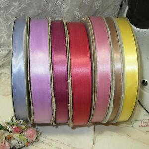 7 Spool Lot 350yd Satin Ribbon Yellow Pink Tan Wine Plum Violet Vtg Doll Dress
