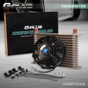 15 Row 10an Universal Engine Transmission Oil Cooler 7 Cooling Fan Kit Gold