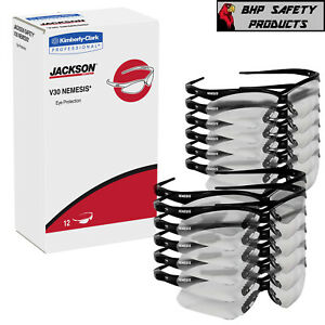 12 Pair Jackson Nemesis 25679 Safety Glasses Black Frame clear Anti fog Lens