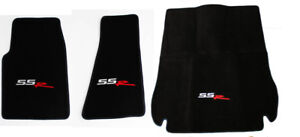 New Black Floor Mats 2003 2004 Chevy Ssr Embroidered Logo 3pc Set W Cargo