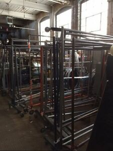 Rolling Pipe Straight Bar Racks Commercial Used Clothing Store Fixtures Rack