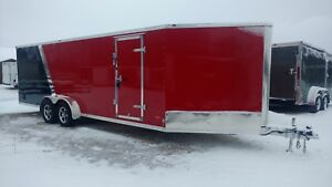 2018 7x29 All Aluminum 4 Place Enclosed Snowmobile Trailer