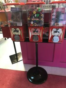 Triple Bulk Vending Machine And Stand Red With Toy Wheel 25 W Key