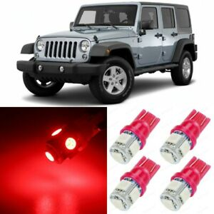9 X Ultra Red Interior Led Lights Package For 2007 2017 Jeep Wrangler Tool