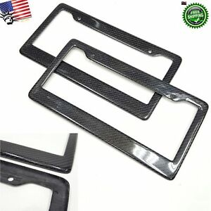 2x For Ford Chevy Dodge Gmc Jeep Black Carbon Fiber License Plate Frame Cover