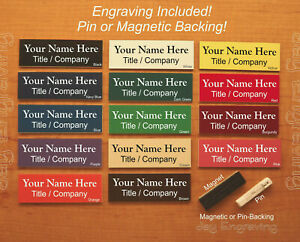 Custom Engraved 1x3 Name Tag Employee Id Badge With Pin Or Magnetic Backing