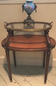 French Louis Xvi Style Rosewood Parquetry Glass Top Tray Table Bronze Trim