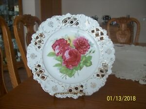 Reticulated Vintage White Porcelain China Deep Red Rose Floral Scalloped Plate