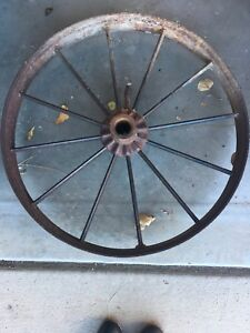 Old Vintage Antique Primitive Steel Spoke Wagon Cart Implement Wheel Farm Decor
