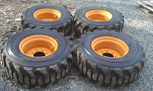 4 New 14x17 5 Skid Steer Tires Rims For Case 14 Ply Rating 14 17 5