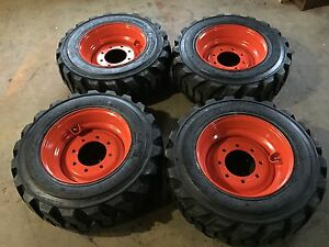 4 New 10 16 5 Deestone Skid Steer Tires Wheels rims For Bobcat 10 Ply 10x16 5