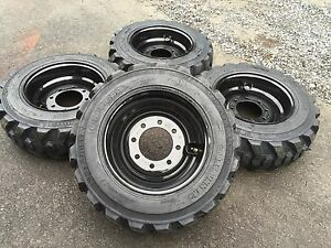 4 New 10 16 5 Skid Steer Tires On Black Wheels rims 10 Ply For Bobcat