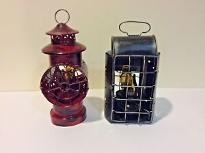 Lot Of 2 Primitive Tin Oil Lanterns With Mirrors Country Rustic Decor Red Black