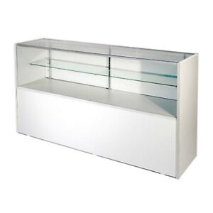 Retail Glass Display Case Half Vision White 4 Showcase