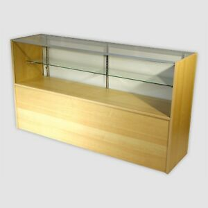 Retail Glass Display Case Half Vision Maple 5 Showcase