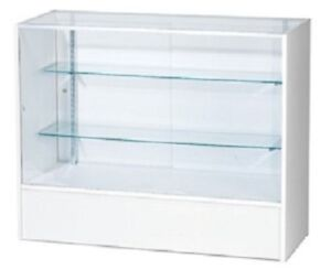 Retail Glass Display Case Full Vision White 4 Showcase