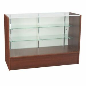 Retail Glass Display Case Full Vision Walnut 4 Showcase