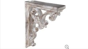 Large Rustic Corbels Brackets Distressed White Ornate Wood Corbels Set Of 2