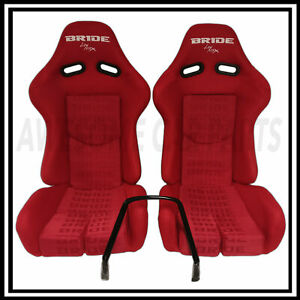 Bride Carbon Kevlar Red Cloth Low Max Reclinable Bucket Racing Seat Pair