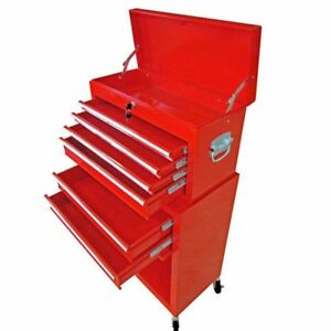 Rolling Tool Chest 7 Drawers Steel Red Garage Storage Cabinet Toolbox Organizer