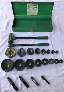 Greenless No 1804 Ratchet Knockout Punch Driver And Complete Set tested Works