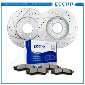 Front Drilled And Slotted Brake Discs Rotors Ceramic Pads Kit For Ford Mustang